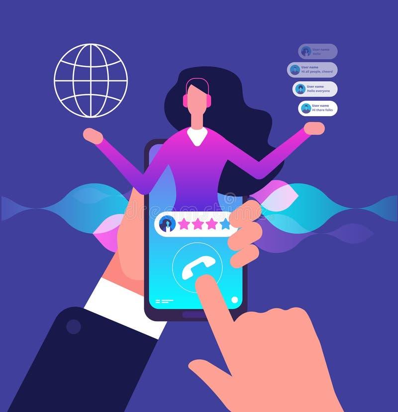 Assistentapp Heta linjenkundtjänst Internetkonsulentsamtal till klienten Faktisk service och mobil hjälpvektor stock illustrationer