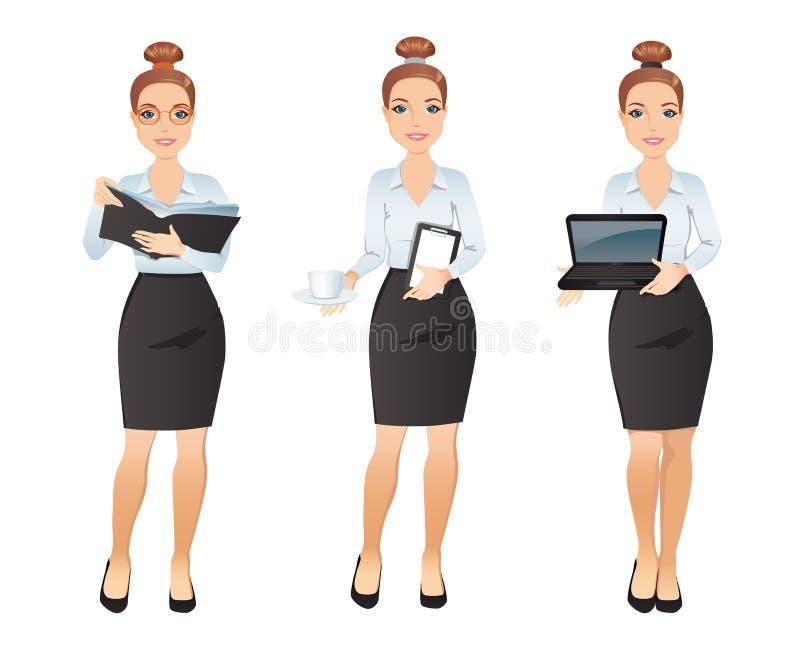 Assistente della giovane donna nelle pose differenti illustrazione di stock