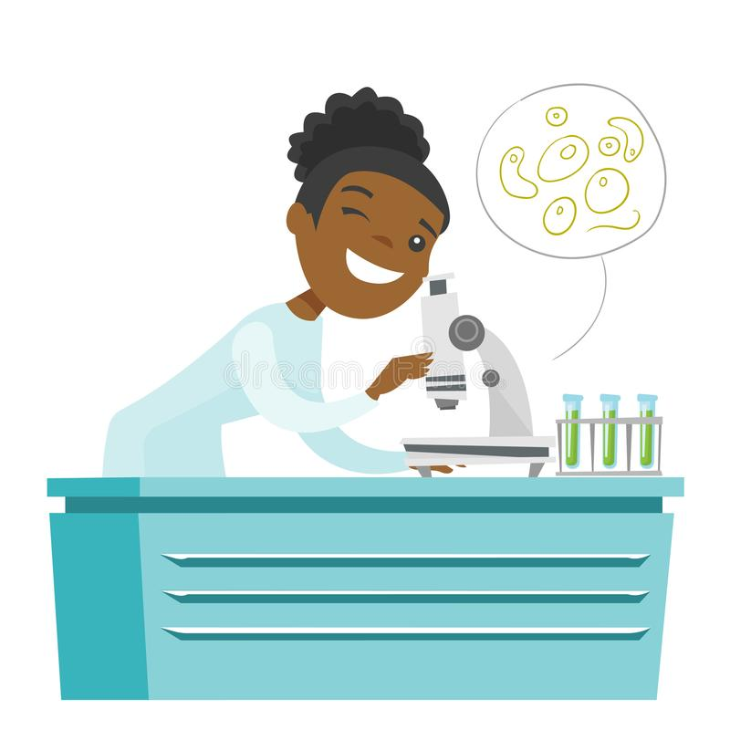Assistente di laboratorio africano con un microscopio illustrazione di stock