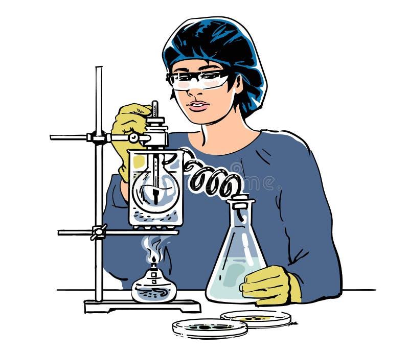 Assistente di laboratorio che lavora nel laboratorio medico o chimico scientifico Schizzo dello scienziato della donna con le pro illustrazione vettoriale