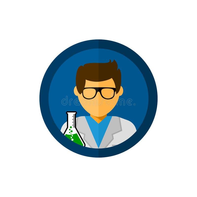Assistente di laboratorio con l'illustrazione dell'icona di vettore del cerchio illustrazione di stock