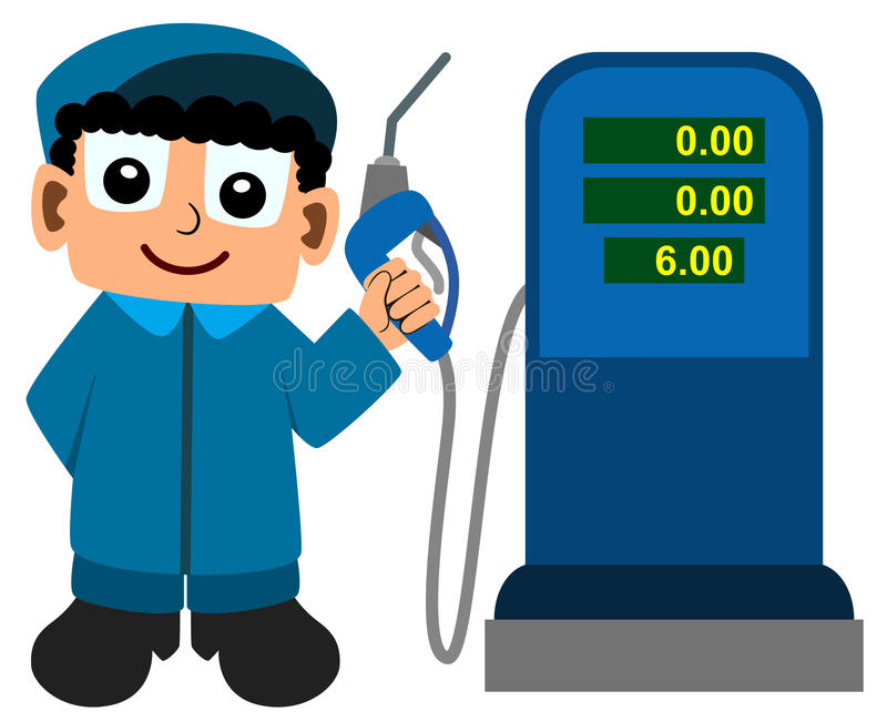 Assistente do posto de gasolina ilustração royalty free