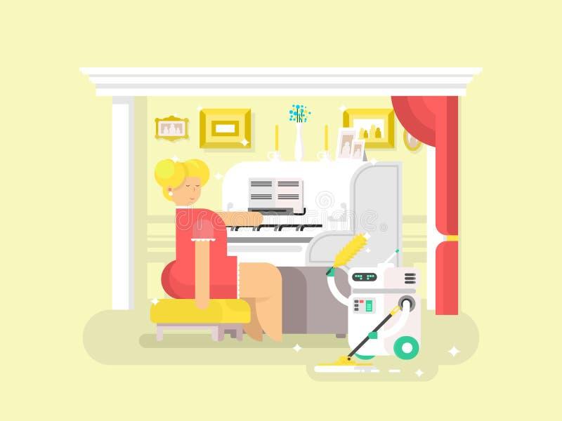 Assistente do robô dos trabalhos domésticos ilustração stock