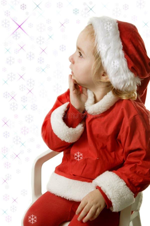Assistente e fiocchi di neve della Santa immagini stock libere da diritti