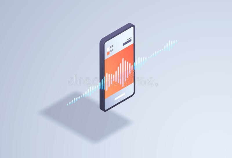 Assistente esperto do orador da gravação de mensagem da voz da inteligência artificial que joga a relação em linha 3d do app dos  ilustração royalty free