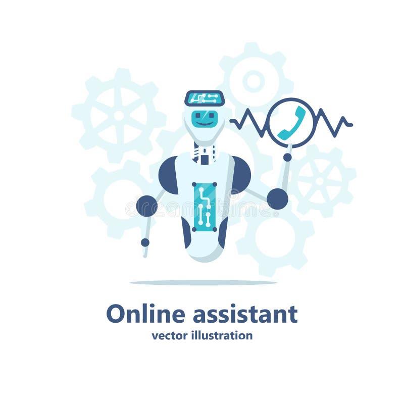 Assistente online Chatbot Il call center robot riceve una chiamata illustrazione vettoriale