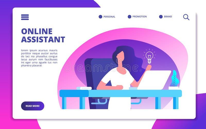 Assistente online Il servizio globale del cliente, operatore della linea diretta della donna consiglia i clienti Vettore virtuale illustrazione vettoriale