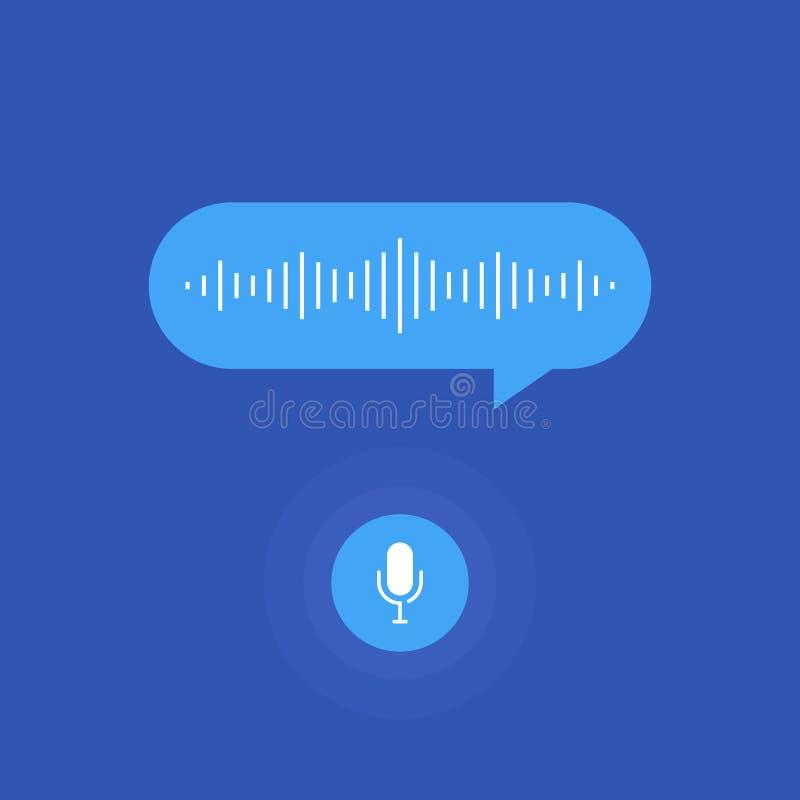 Assistente pessoal e reconhecimento de voz Botão do microfone e voz e linhas de imitação sadias ilustração do vetor