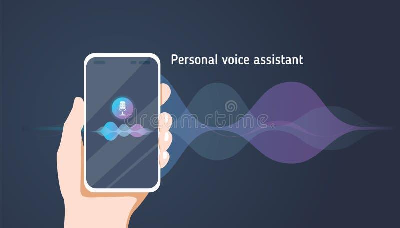 Assistente pessoal e reconhecimento de voz no app móvel A ilustração lisa do vetor do conceito da mão humana guarda o smartphone ilustração royalty free