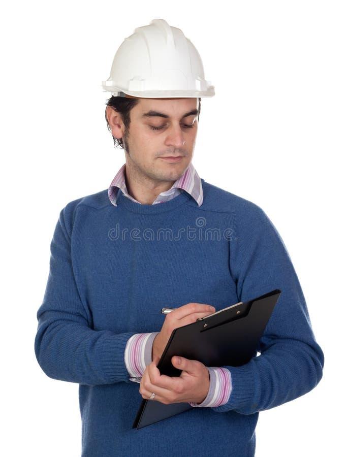 Assistente tecnico con il casco bianco fotografia stock libera da diritti