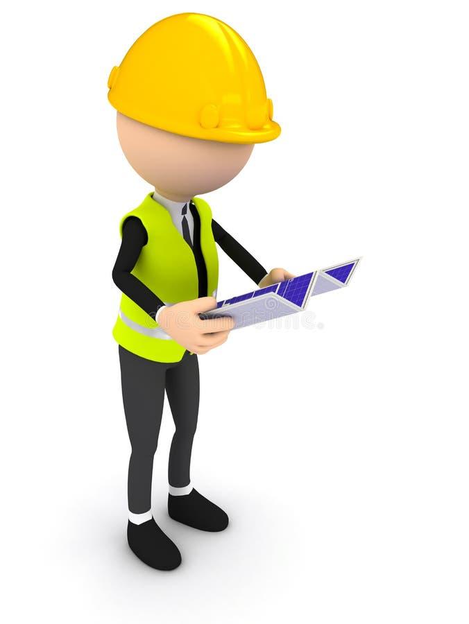Assistente tecnico con la cianografia sopra priorità bassa bianca royalty illustrazione gratis