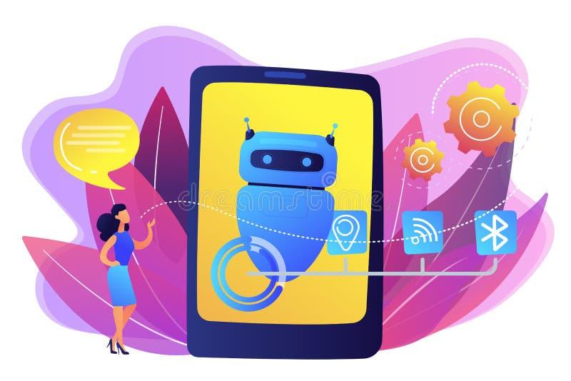 Assistente virtuale di Chatbot via l'illustrazione di vettore di concetto di messaggio illustrazione di stock