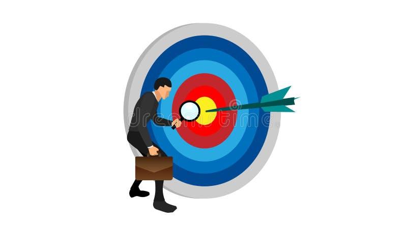 Assistenten av en man som rymmer en påse, den vänstra handen som rymmer linsöglan, ser den önskade målpunkten Teckenet stock illustrationer