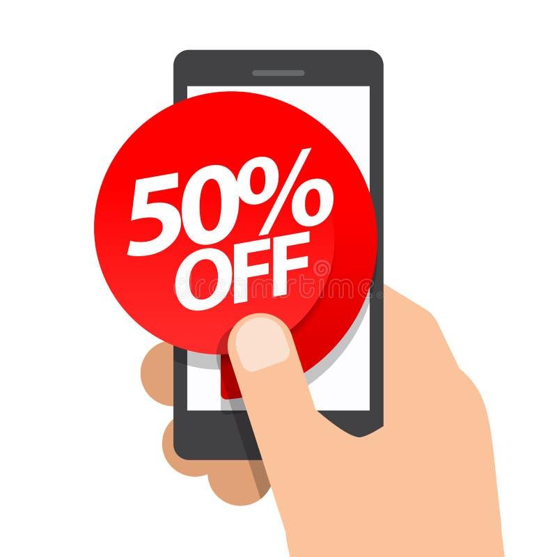 Assistenten rymmer smartphonen femtio procent rabattköp på direktanslutet stock illustrationer