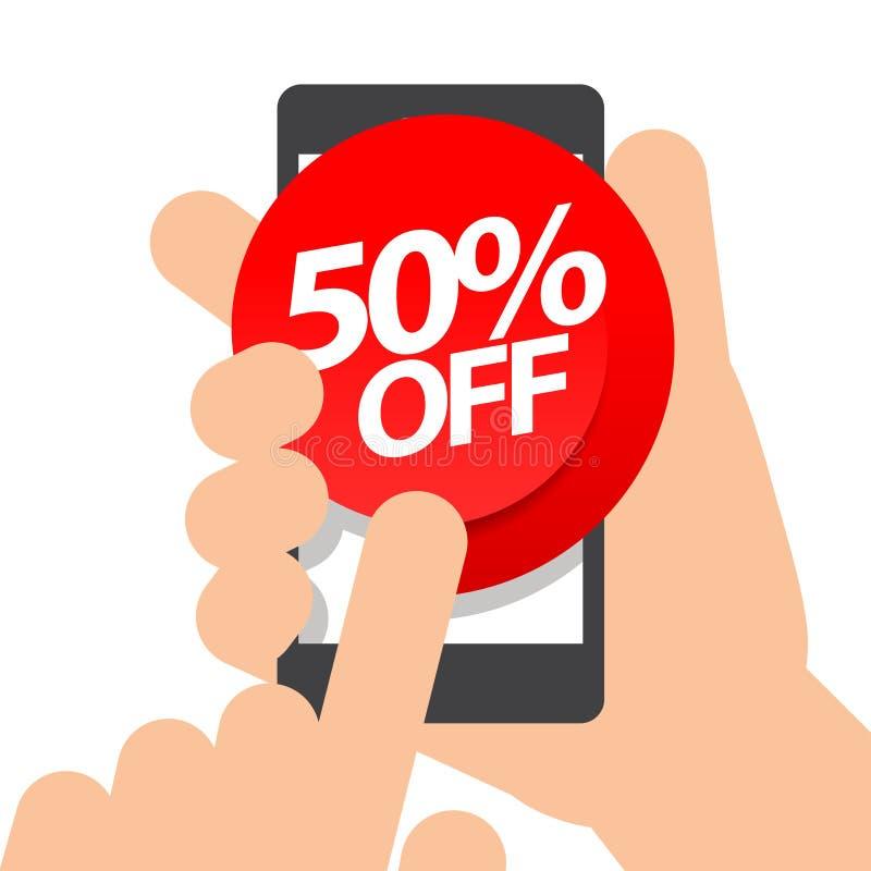 Assistenten rymmer smartphonen femtio procent rabattköp på direktanslutet royaltyfri illustrationer