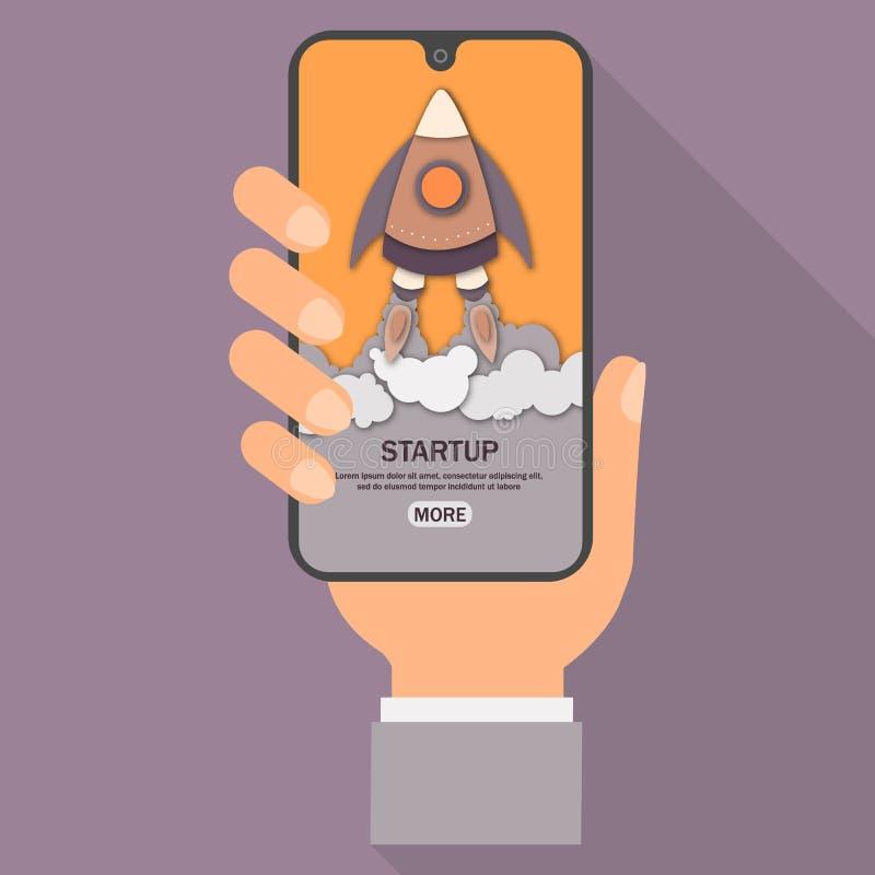 Assistenten rymmer smartphonen med den öppna webbsidan Modern telefon för manbruk som söker start i internet plant designbegrepp royaltyfri illustrationer