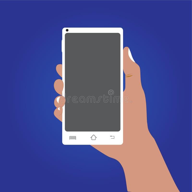 Assistenthåll en mobiltelefon på blå bakgrund stock illustrationer