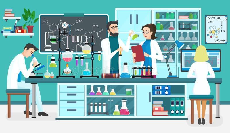 Assistenti della gente del laboratorio che lavorano nel laboratorio biologico medico scientifico Esperimenti chimici Vettore del  illustrazione vettoriale