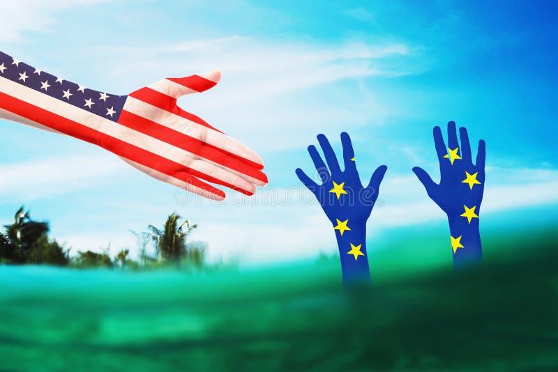 Assistenza all'Unione europea da parte di colleghi americani in una situazione difficile Relazioni internazionali fotografia stock libera da diritti