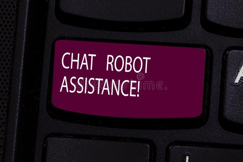 Assistenza del robot di chiacchierata del testo della scrittura Il significato di concetto risponde alle domande di servizi di as fotografia stock