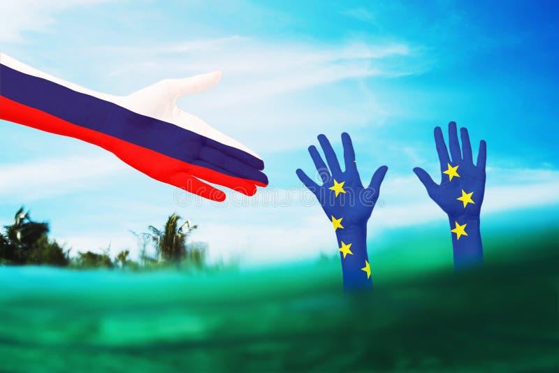 Assistenza della Russia all'Unione europea in una situazione difficile Relazioni internazionali immagine stock libera da diritti