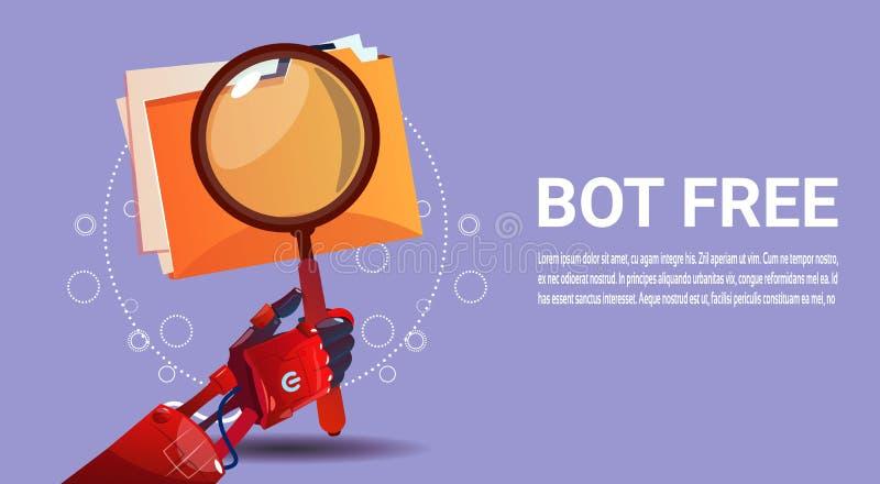 Assistenza virtuale del robot di ricerca del Bot di chiacchierata delle applicazioni del cellulare o del sito Web, concetto di in royalty illustrazione gratis
