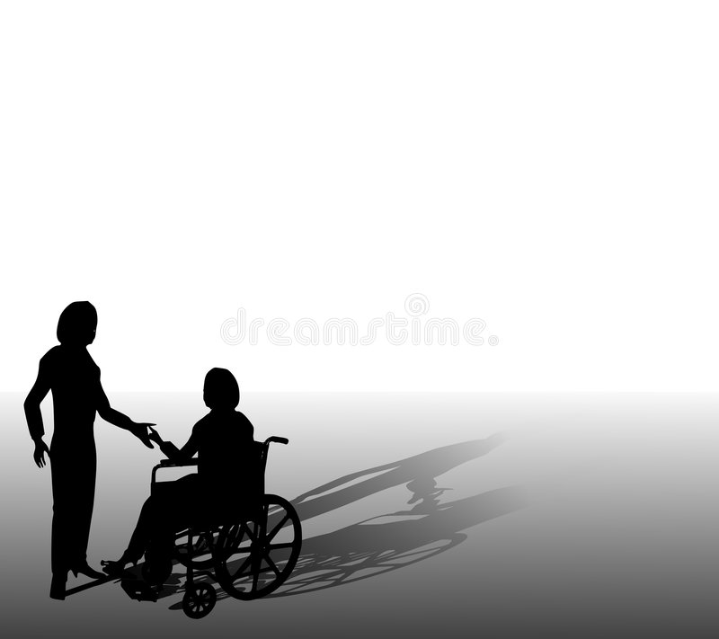 Assisting Person In Wheelchair. An illustration featuring a woman (friend,nurse or homecare worker) helping someone in a wheelchair