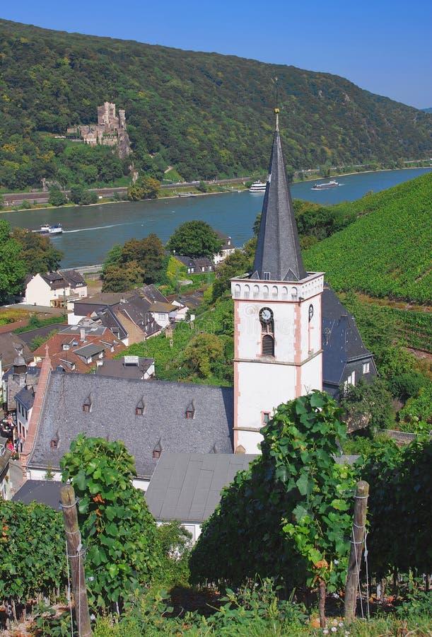Assmannshausen, vale de Rhine foto de stock
