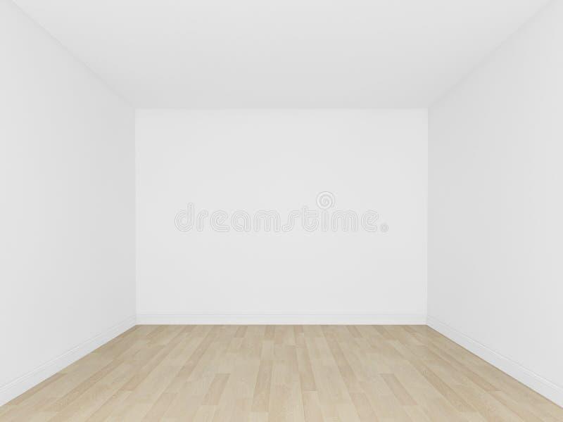 Assoalho branco da parede e da madeira, sala vazia, interior 3d ilustração royalty free