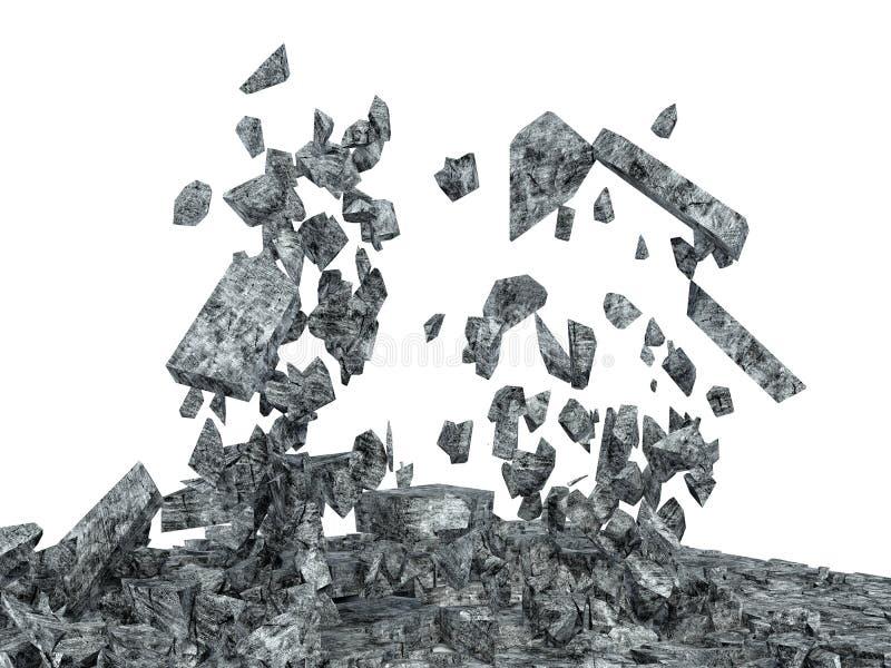 Assoalho concreto quebrado isolado no fundo branco ilustração do vetor