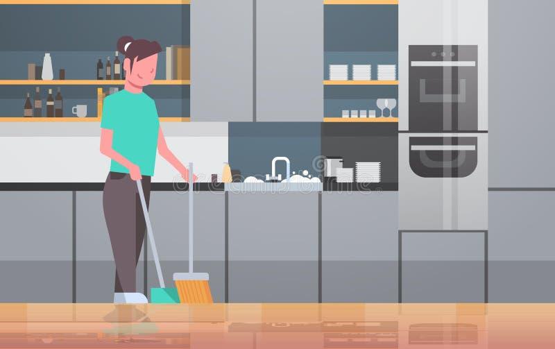 Assoalho da lavagem da dona de casa com a moça da vassoura e da colher que faz o interior moderno housecleaning da cozinha do co ilustração do vetor