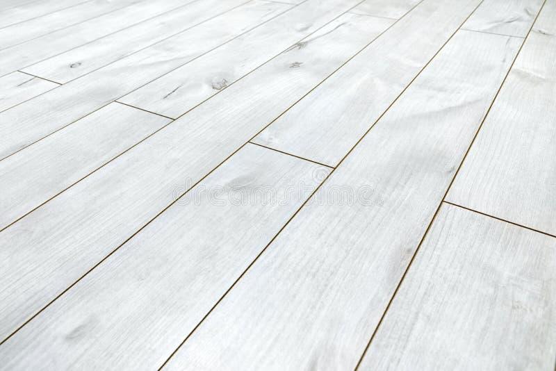 Assoalho de madeira branco como a textura do fundo imagens de stock