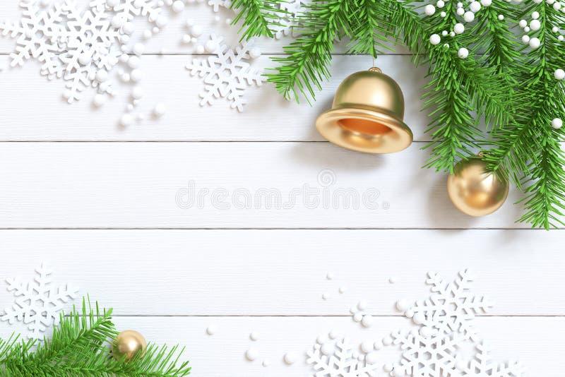 Assoalho de madeira branco do fundo 3d do Natal para render com árvore-folha do Natal fotografia de stock royalty free