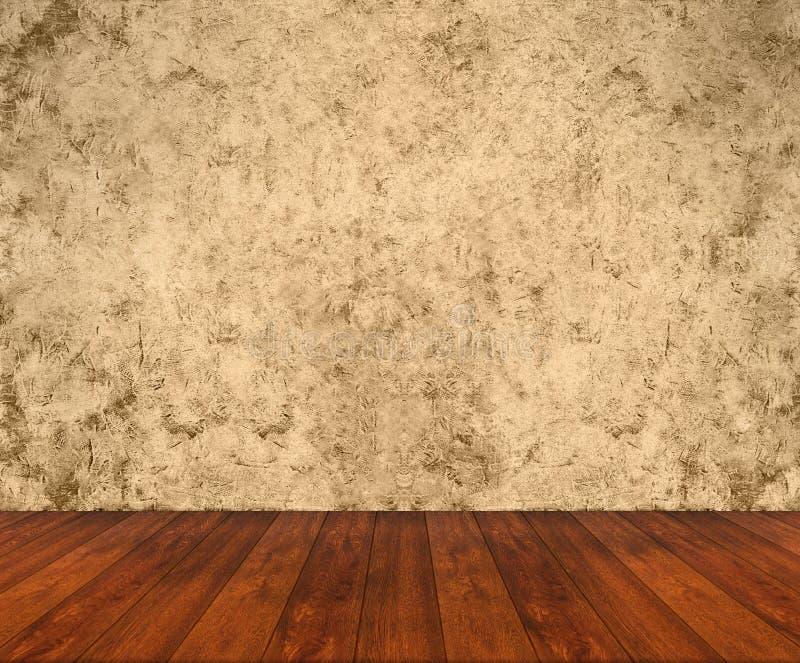 Assoalho de madeira com parede do grunge fotografia de stock