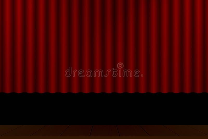 Assoalho de madeira da fase vermelha do teatro da cortina ilustração royalty free