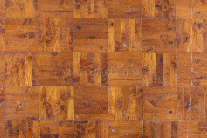 Assoalho de madeira da textura do blogue do parquet velho para o fundo fotografia de stock