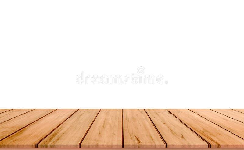 Assoalho de madeira velho da tabela ou da madeira para a colocação do produto ou montagem com fundo branco fotos de stock