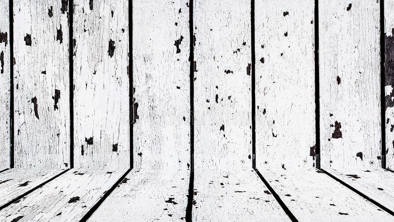 Assoalho e parede de madeira brancos velhos fotografia de stock royalty free