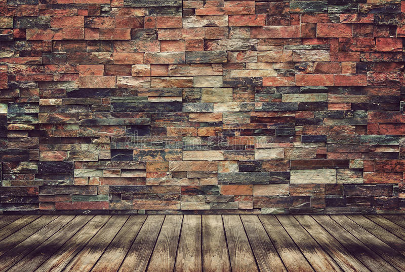Assoalho e parede de tijolo de madeira para o papel de parede do vintage imagem de stock royalty free