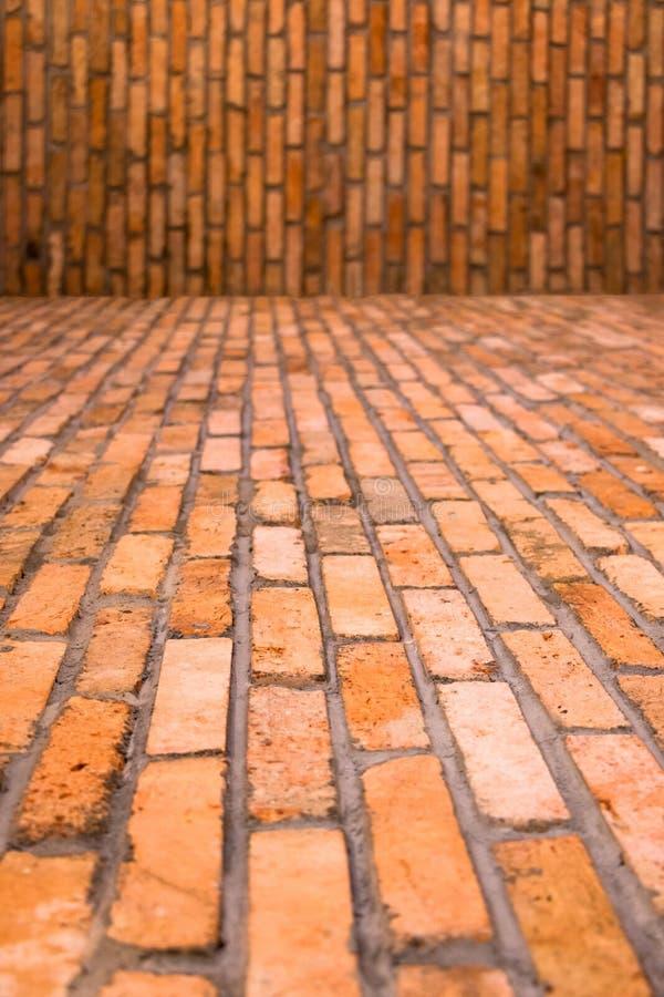 Assoalho e parede do tijolo para o fundo imagem de stock royalty free