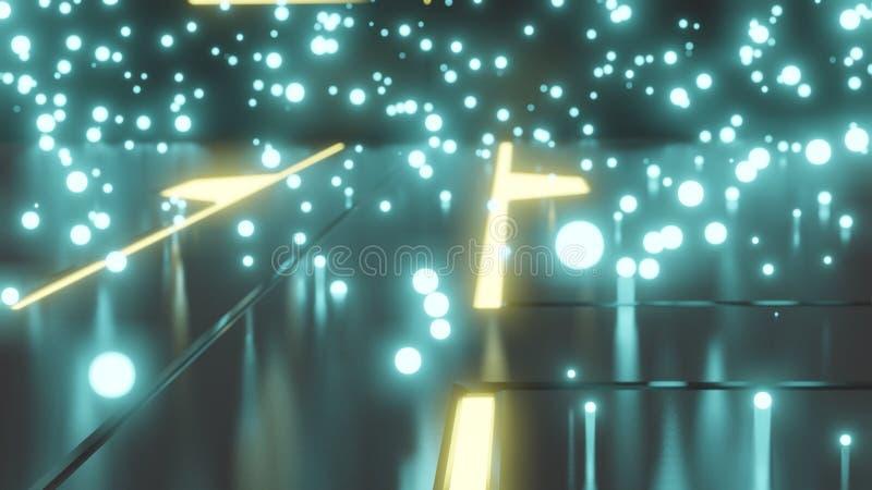 Assoalho metálico futurista do sumário com os circuitos de néon de incandescência encaixados no assoalho e nas esferas de incande ilustração do vetor