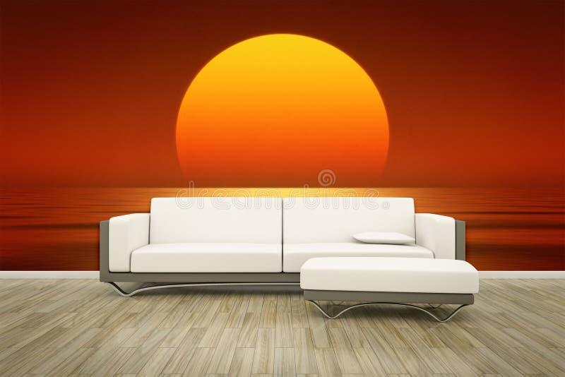 Assoalho mural do sofá da parede da foto ilustração royalty free