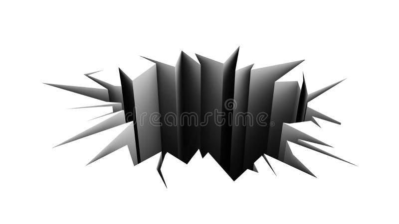 Assoalho rachado. furo no pavimento branco. ilustração do vetor