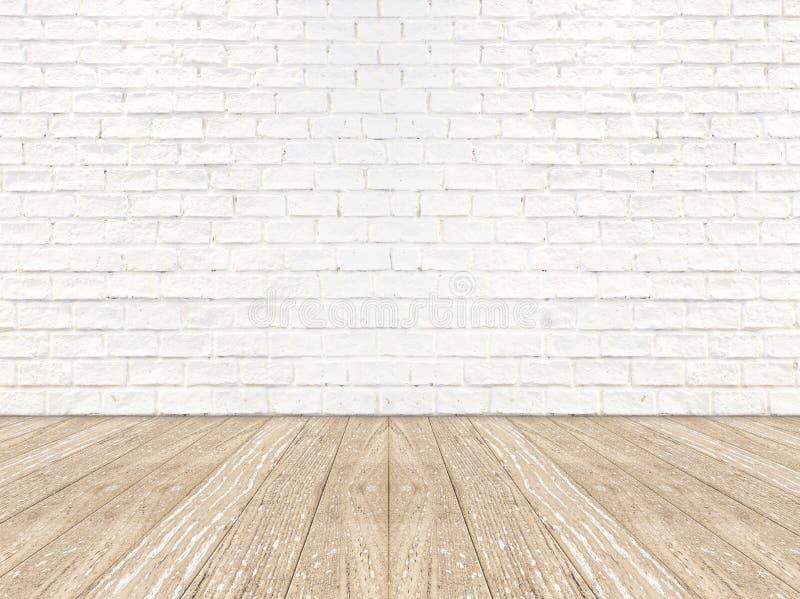 Assoalho vazio da prancha da parede e da madeira da sala do tijolo fotografia de stock