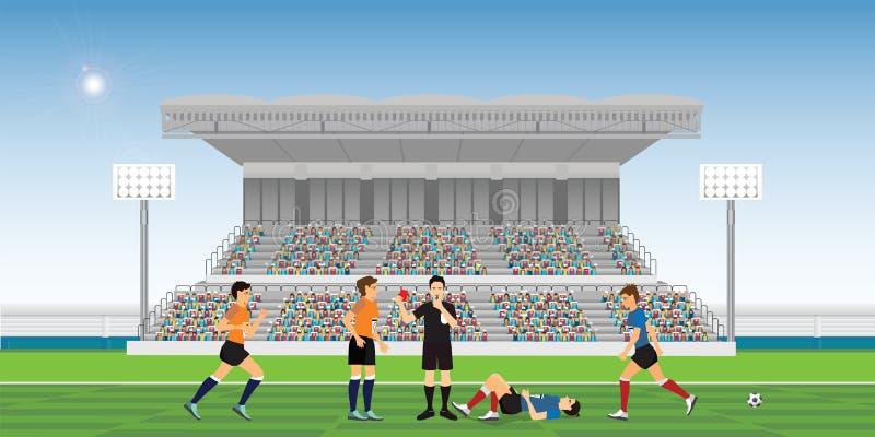 Assobio de sopro do árbitro e guardar o cartão vermelho para o jogador de futebol ilustração royalty free