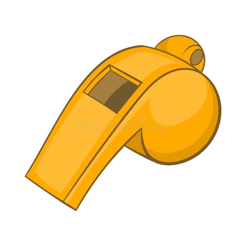 Assobio do ícone do árbitro, estilo dos desenhos animados ilustração stock