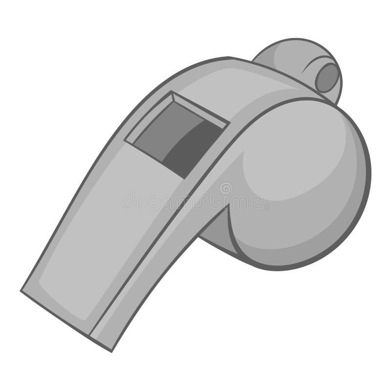Assobio do ícone do árbitro, estilo monocromático preto ilustração royalty free