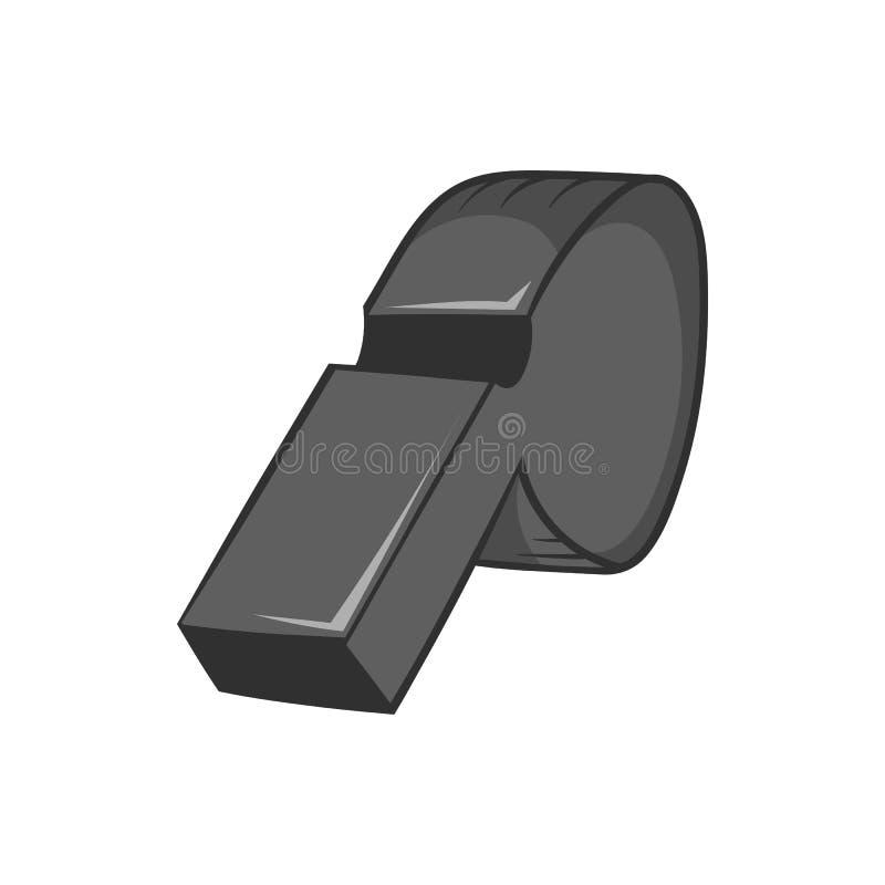 Assobio do ícone do árbitro, estilo monocromático preto ilustração do vetor