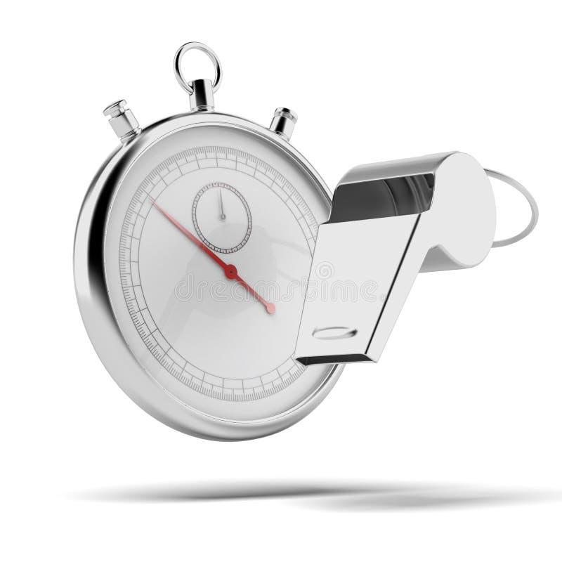Assobio e cronômetro ilustração royalty free