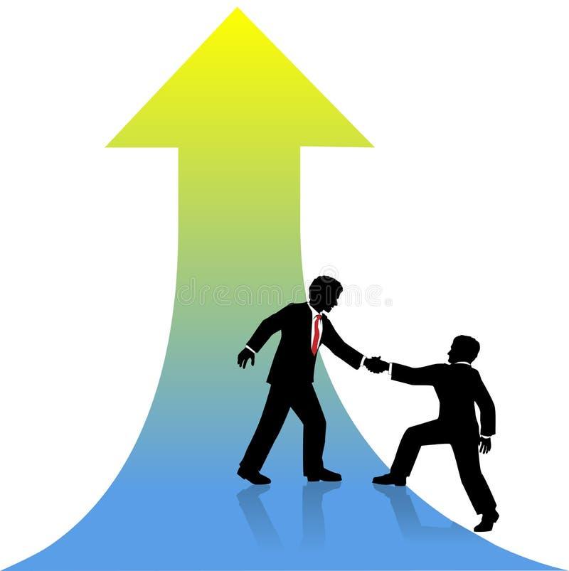 Associé de aide d'homme d'affaires jusqu'au succès illustration libre de droits